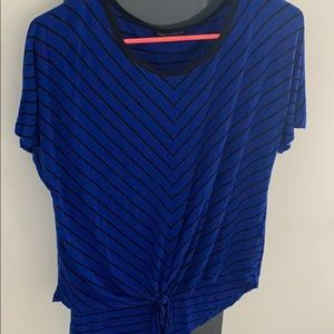 Blue and black stripped Cable & Gauge shirt